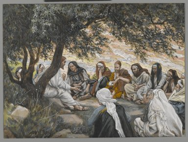 James Tissot (French, 1836-1902). <em>The Exhortation to the Apostles (Recommandation aux apôtres)</em>, 1886-1896. Opaque watercolor over graphite on gray wove paper, Image: 6 1/2 x 8 3/4 in. (16.5 x 22.2 cm). Brooklyn Museum, Purchased by public subscription, 00.159.129 (Photo: Brooklyn Museum, 00.159.129_PS2.jpg)