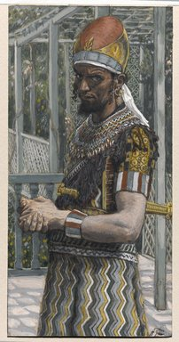 James Tissot (French, 1836-1902). <em>Herod (Hérode)</em>, 1886-1894. Opaque watercolor over graphite on gray wove paper, Image: 6 3/16 x 3 3/16 in. (15.7 x 8.1 cm). Brooklyn Museum, Purchased by public subscription, 00.159.130 (Photo: Brooklyn Museum, 00.159.130_PS1.jpg)