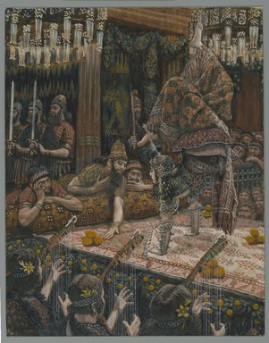 James Tissot (French, 1836-1902). <em>The Daughter of Herodias Dancing (Hérodiade dansant)</em>, 1886-1896. Opaque watercolor over graphite on gray wove paper, Image: 9 5/16 x 7 5/16 in. (23.7 x 18.6 cm). Brooklyn Museum, Purchased by public subscription, 00.159.131 (Photo: Brooklyn Museum, 00.159.131_PS2.jpg)