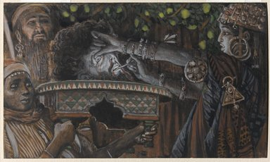 James Tissot (French, 1836-1902). <em>The Head of Saint John the Baptist on a Charger (La tête de saint Jean-Baptiste dans le plat)</em>, 1886-1896. Opaque watercolor over graphite on gray wove paper, Image: 4 3/8 x 7 3/8 in. (11.1 x 18.7 cm). Brooklyn Museum, Purchased by public subscription, 00.159.132 (Photo: Brooklyn Museum, 00.159.132_PS1.jpg)