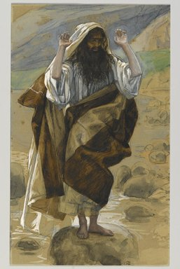James Tissot (French, 1836-1902). <em>Saint Thaddeus or Saint Jude (Saint Thadée ou Saint Jude)</em>, 1886-1894. Opaque watercolor over graphite on gray wove paper, Image: 10 3/8 x 6 5/16 in. (26.4 x 16 cm). Brooklyn Museum, Purchased by public subscription, 00.159.133 (Photo: Brooklyn Museum, 00.159.133_PS2.jpg)