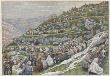 James Tissot (French, 1836-1902). <em>The Miracle of the Loaves and Fishes (La multiplication des pains)</em>, 1886-1896. Opaque watercolor over graphite on gray wove paper, Image: 7 3/8 x 10 9/16 in. (18.7 x 26.8 cm). Brooklyn Museum, Purchased by public subscription, 00.159.134 (Photo: Brooklyn Museum, 00.159.134_PS1.jpg)