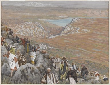 James Tissot (French, 1836-1902). <em>The People Seek Jesus to Make Him King (On cherche Jésus pour le faire roi)</em>, 1886-1896. Opaque watercolor over graphite on gray wove paper, Image: 7 5/16 x 9 3/8 in. (18.6 x 23.8 cm). Brooklyn Museum, Purchased by public subscription, 00.159.135 (Photo: Brooklyn Museum, 00.159.135_PS1.jpg)