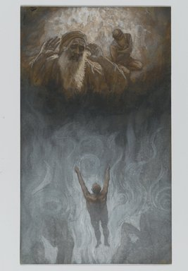 James Tissot (French, 1836-1902). <em>The Bad Rich Man in Hell (Le mauvais riche dans l'Enfer)</em>, 1886-1894. Opaque watercolor over graphite on gray wove paper, Image: 8 13/16 x 5 3/16 in. (22.4 x 13.2 cm). Brooklyn Museum, Purchased by public subscription, 00.159.136 (Photo: Brooklyn Museum, 00.159.136_PS2.jpg)