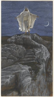 James Tissot (French, 1836-1902). <em>Jesus Goes Up Alone onto a Mountain to Pray (Jésus monte seul sur une montagne pour prier)</em>, 1886-1894. Opaque watercolor over graphite on gray wove paper, Image: 11 3/8 x 6 1/4 in. (28.9 x 15.9 cm). Brooklyn Museum, Purchased by public subscription, 00.159.137 (Photo: Brooklyn Museum, 00.159.137_PS1.jpg)