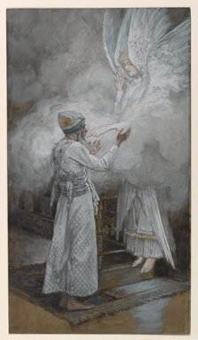 James Tissot (French, 1836-1902). <em>The Vision of Zacharias (Vision de Zacharie)</em>, 1886-1894. Opaque watercolor over graphite on gray wove paper, Image: 9 3/8 x 5 1/4 in. (23.8 x 13.3 cm). Brooklyn Museum, Purchased by public subscription, 00.159.13 (Photo: Brooklyn Museum, 00.159.13_PS1.jpg)