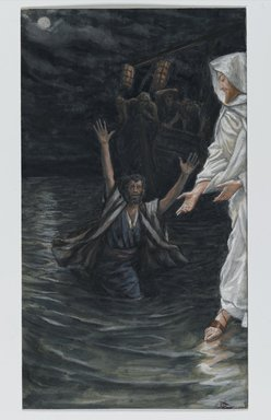 James Tissot (French, 1836-1902). <em>Saint Peter Walks on the Sea (Saint Pierre marche sur la mer)</em>, 1886-1896. Opaque watercolor over graphite on gray wove paper, Image: 7 11/16 x 4 5/16 in. (19.5 x 11 cm). Brooklyn Museum, Purchased by public subscription, 00.159.140 (Photo: Brooklyn Museum, 00.159.140_PS2.jpg)
