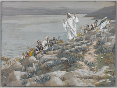 James Tissot (French, 1836-1902). <em>You Follow Me for the Miracles (Vous me suivez pour des miracles)</em>, 1886-1894. Opaque watercolor over graphite on gray wove paper, Image: 5 7/16 x 7 1/4 in. (13.8 x 18.4 cm). Brooklyn Museum, Purchased by public subscription, 00.159.141 (Photo: Brooklyn Museum, 00.159.141_PS1.jpg)