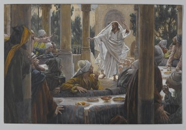 James Tissot (French, 1836-1902). <em>Curses Against the Pharisees (Imprécations contre les pharisiens)</em>, 1886-1896. Opaque watercolor over graphite on gray wove paper, Image: 6 3/8 x 9 3/8 in. (16.2 x 23.8 cm). Brooklyn Museum, Purchased by public subscription, 00.159.142 (Photo: Brooklyn Museum, 00.159.142_PS2.jpg)
