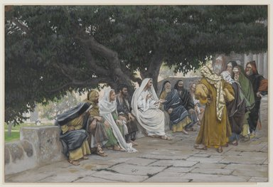 James Tissot (French, 1836-1902). <em>The Pharisees and the Saduccees Come to Tempt Jesus (Les pharisiens et les saducéens viennent pour tenter Jésus)</em>, 1886-1894. Opaque watercolor over graphite on gray wove paper, Image: 7 1/2 x 11 3/16 in. (19.1 x 28.4 cm). Brooklyn Museum, Purchased by public subscription, 00.159.143 (Photo: Brooklyn Museum, 00.159.143_PS2.jpg)