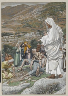 James Tissot (French, 1836-1902). <em>Le possédé au pied du Thabor (The Possessed Boy at the Foot of Mount Tabor)</em>, 1886-1896. Opaque watercolor over graphite on gray wove paper, Image: 9 5/16 x 6 1/2 in. (23.7 x 16.5 cm). Brooklyn Museum, Purchased by public subscription, 00.159.146 (Photo: Brooklyn Museum, 00.159.146_PS2.jpg)