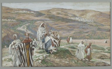 James Tissot (French, 1836-1902). <em>He Sent them out Two by Two (Il les envoya deux à deux)</em>, 1886-1896. Opaque watercolor over graphite on gray wove paper, Image: 5 3/4 x 9 3/4 in. (14.6 x 24.8 cm). Brooklyn Museum, Purchased by public subscription, 00.159.147 (Photo: Brooklyn Museum, 00.159.147_PS2.jpg)