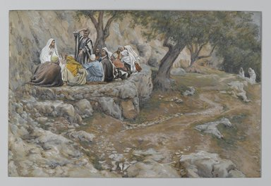 James Tissot (French, 1836-1902). <em>The Primacy of Saint Peter (La primauté de Saint-Pierre)</em>, 1886-1896. Opaque watercolor over graphite on gray wove paper, Image: 6 3/4 x 10 3/16 in. (17.1 x 25.9 cm). Brooklyn Museum, Purchased by public subscription, 00.159.148 (Photo: Brooklyn Museum, 00.159.148_PS2.jpg)