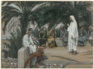 James Tissot (French, 1836-1902). <em>The First Shall Be Last (Le premier sera le dernier)</em>, 1886-1896. Opaque watercolor over graphite on gray wove paper, Image: 6 3/4 x 9 3/16 in. (17.1 x 23.3 cm). Brooklyn Museum, Purchased by public subscription, 00.159.149 (Photo: Brooklyn Museum, 00.159.149_PS1.jpg)