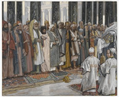 James Tissot (French, 1836-1902). <em>The Testing of the Suitors of the Holy Virgin (L'épreuve des prétendants au mariage de la sainte Vierge)</em>, 1886-1894. Opaque watercolor over graphite on gray wove paper, Image: 7 1/2 x 9 1/16 in. (19.1 x 23 cm). Brooklyn Museum, Purchased by public subscription, 00.159.14 (Photo: Brooklyn Museum, 00.159.14_PS1.jpg)