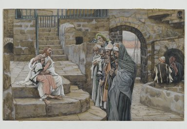 James Tissot (French, 1836-1902). <em>Jesus and the Little Child (Jésus et le petit enfant)</em>, 1886-1896. Opaque watercolor over graphite on gray wove paper, Image: 5 3/4 x 9 3/8 in. (14.6 x 23.8 cm). Brooklyn Museum, Purchased by public subscription, 00.159.150 (Photo: Brooklyn Museum, 00.159.150_PS2.jpg)