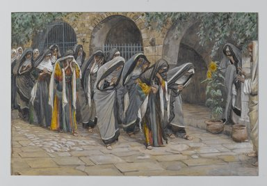 James Tissot (French, 1836-1902). <em>The Holy Women (Les femmes saintes)</em>, 1886-1896. Opaque watercolor over graphite on gray wove paper, Image: 6 11/16 x 10 1/8 in. (17 x 25.7 cm). Brooklyn Museum, Purchased by public subscription, 00.159.151 (Photo: Brooklyn Museum, 00.159.151_PS2.jpg)