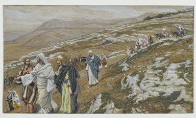 James Tissot (French, 1836-1902). <em>Jesus Traveling (Jésus en voyage)</em>, 1886-1896. Opaque watercolor over graphite on gray wove paper, Image: 5 7/8 x 10 3/16 in. (14.9 x 25.9 cm). Brooklyn Museum, Purchased by public subscription, 00.159.152 (Photo: Brooklyn Museum, 00.159.152_PS2.jpg)