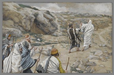 James Tissot (French, 1836-1902). <em>Get Thee Behind Me, Satan (Rétire-toi, Satan)</em>, 1886-1896. Opaque watercolor over graphite on gray wove paper, Image: 5 11/16 x 8 5/8 in. (14.4 x 21.9 cm). Brooklyn Museum, Purchased by public subscription, 00.159.153 (Photo: Brooklyn Museum, 00.159.153_PS2.jpg)