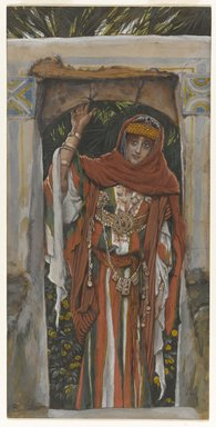 James Tissot (French, 1836-1902). <em>The Magdalene Before Her Conversion (Madeleine avant sa conversion )</em>, 1886-1894. Opaque watercolor over graphite on gray wove paper, Image: 11 1/16 x 5 1/2 in. (28.1 x 14 cm). Brooklyn Museum, Purchased by public subscription, 00.159.154 (Photo: Brooklyn Museum, 00.159.154_PS1.jpg)