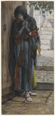 James Tissot (French, 1836-1902). <em>The Repentant Mary Magdalene (Madeleine répentante)</em>, 1886-1894. Opaque watercolor over graphite on gray wove paper, Image: 8 9/16 x 3 15/16 in. (21.7 x 10 cm). Brooklyn Museum, Purchased by public subscription, 00.159.155 (Photo: Brooklyn Museum, 00.159.155_PS1.jpg)