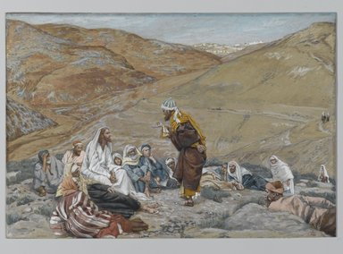 James Tissot (French, 1836-1902). <em>The Scribe Stood to Tempt Jesus (Le scribe se leva pour tenter Jésus)</em>, 1886-1894. Opaque watercolor over graphite on gray wove paper, Image: 6 3/4 x 9 3/4 in. (17.1 x 24.8 cm). Brooklyn Museum, Purchased by public subscription, 00.159.156 (Photo: Brooklyn Museum, 00.159.156_PS2.jpg)