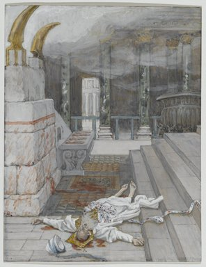 James Tissot (French, 1836-1902). <em>Zacharias Killed Between the Temple and the Altar (Zacharie tué entre le temple et l'autel)</em>, 1886-1894. Opaque watercolor over graphite on gray wove paper, Image: 7 1/8 x 5 1/2 in. (18.1 x 14 cm). Brooklyn Museum, Purchased by public subscription, 00.159.158 (Photo: Brooklyn Museum, 00.159.158_PS2.jpg)