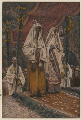 James Tissot (French, 1836-1902). <em>The Betrothal of the Holy Virgin and Saint Joseph (Fiançailles de la sainte vierge et de saint Joseph)</em>, 1886-1894. Opaque watercolor over graphite on gray wove paper, Image: 6 5/8 x 4 1/2 in. (16.8 x 11.4 cm). Brooklyn Museum, Purchased by public subscription, 00.159.15 (Photo: Brooklyn Museum, 00.159.15_PS2.jpg)
