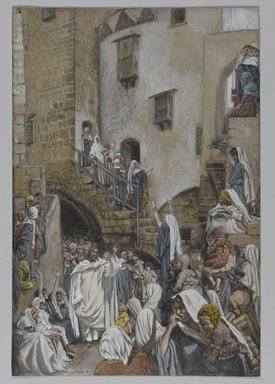 James Tissot (French, 1836-1902). <em>A Woman Cries Out in a Crowd (Une femme crie dans en foule)</em>, 1886-1894. Opaque watercolor over graphite on gray wove paper, Image: 9 5/8 x 6 1/2 in. (24.4 x 16.5 cm). Brooklyn Museum, Purchased by public subscription, 00.159.160 (Photo: Brooklyn Museum, 00.159.160_PS2.jpg)