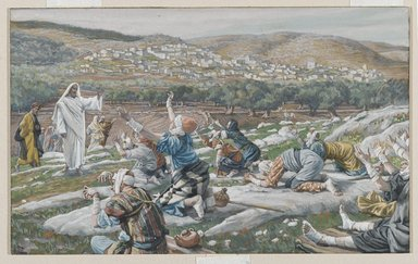 James Tissot (French, 1836-1902). <em>The Healing of Ten Lepers (Guérison de dix lépreux)</em>, 1886-1896. Opaque watercolor over graphite on gray wove paper, Image: 6 x 9 5/8 in. (15.2 x 24.4 cm). Brooklyn Museum, Purchased by public subscription, 00.159.161 (Photo: Brooklyn Museum, 00.159.161_PS2.jpg)