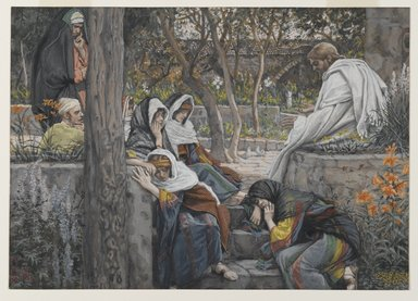 James Tissot (French, 1836-1902). <em>Jesus, Mary Magdalene, and Martha at Bethany (Jésus à Bethanie, Marie, Madeleine et Marthe)</em>, 1886-1894. Opaque watercolor over graphite on gray wove paper, Image: 7 15/16 x 11 3/16 in. (20.2 x 28.4 cm). Brooklyn Museum, Purchased by public subscription, 00.159.162 (Photo: Brooklyn Museum, 00.159.162_PS2.jpg)