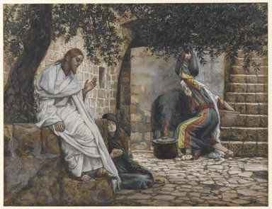 James Tissot (French, 1836-1902). <em>Mary Magdalene at the Feet of Jesus</em>, 1886-1894. Opaque watercolor over graphite on gray wove paper, Image: 7 15/16 x 10 3/8 in. (20.2 x 26.4 cm). Brooklyn Museum, Purchased by public subscription, 00.159.164 (Photo: Brooklyn Museum, 00.159.164_PS1.jpg)
