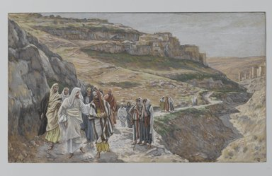 James Tissot (French, 1836-1902). <em>Jesus Discourses with His Disciples (Jésus s'entretient avec ses disciples)</em>, 1886-1896. Opaque watercolor over graphite on gray wove paper, Image: 6 13/16 x 11 11/16 in. (17.3 x 29.7 cm). Brooklyn Museum, Purchased by public subscription, 00.159.165 (Photo: Brooklyn Museum, 00.159.165_PS2.jpg)