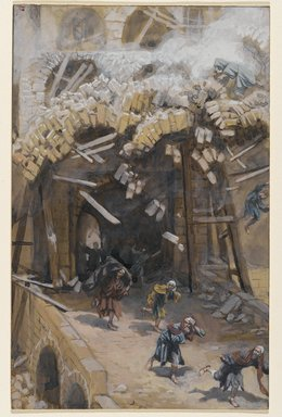 James Tissot (French, 1836-1902). <em>The Tower of Siloam (Le tour de Siloë)</em>, 1886-1896. Opaque watercolor over graphite on gray wove paper, Image: 9 1/4 x 5 7/8 in. (23.5 x 14.9 cm). Brooklyn Museum, Purchased by public subscription, 00.159.166 (Photo: Brooklyn Museum, 00.159.166_PS2.jpg)