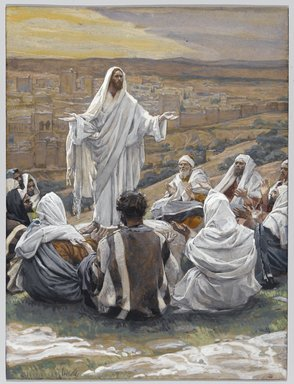 "James Tissot (French, 1836-1902). <em>The Lord's Prayer (Le ""Pater Noster"")</em>, 1886-1896. Opaque watercolor over graphite on gray wove paper, Image: 8 1/2 x 6 7/16 in. (21.6 x 16.4 cm). Brooklyn Museum, Purchased by public subscription, 00.159.167 (Photo: Brooklyn Museum, 00.159.167_PS1.jpg)"