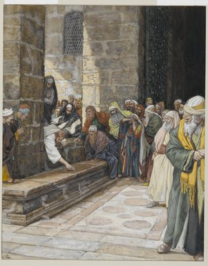 James Tissot (French, 1836-1902). <em>The Adulterous Woman--Christ Writing upon the Ground (La femme adultère--Christ écrit par terre)</em>, 1886-1894. Opaque watercolor over graphite on gray wove paper, Image: 9 7/16 x 7 9/16 in. (24 x 19.2 cm). Brooklyn Museum, Purchased by public subscription, 00.159.169 (Photo: Brooklyn Museum, 00.159.169_PS2.jpg)