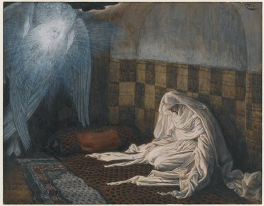 James Tissot (French, 1836-1902). <em>The Annunciation (L'annonciation)</em>, 1886-1894. Opaque watercolor over graphite on gray wove paper, Image: 6 11/16 x 8 9/16 in. (17 x 21.7 cm). Brooklyn Museum, Purchased by public subscription, 00.159.16 (Photo: Brooklyn Museum, 00.159.16_PS1.jpg)