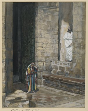 James Tissot (French, 1836-1902). <em>The Adulterous Woman Alone with Jesus (La femme adultère seule avec Jésus)</em>, 1886-1894. Opaque watercolor over graphite on gray wove paper, Image: 9 3/16 x 7 1/8 in. (23.3 x 18.1 cm). Brooklyn Museum, Purchased by public subscription, 00.159.170 (Photo: Brooklyn Museum, 00.159.170_PS2.jpg)