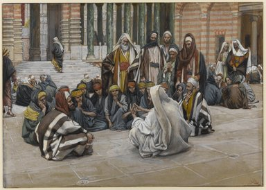 James Tissot (French, 1836-1902). <em>Jesus Speaks Near the Treasury (Jésus parle près du trésor)</em>, 1886-1896. Opaque watercolor over graphite on gray wove paper, Image: 6 5/8 x 9 5/16 in. (16.8 x 23.7 cm). Brooklyn Museum, Purchased by public subscription, 00.159.171 (Photo: Brooklyn Museum, 00.159.171_PS1.jpg)