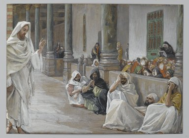 James Tissot (French, 1836-1902). <em>He Who is of God Hears the Word of God (Celui de Dieu entend la parole de Dieu)</em>, 1886-1894. Opaque watercolor over graphite on gray wove paper, Image: 6 5/8 x 9 in. (16.8 x 22.9 cm). Brooklyn Museum, Purchased by public subscription, 00.159.172 (Photo: Brooklyn Museum, 00.159.172_PS2.jpg)