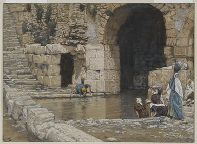 James Tissot (French, 1836-1902). <em>The Blind Man Washes in the Pool of Siloam (Le aveugle-né se lave à la piscine de Siloë)</em>, 1886-1894. Opaque watercolor over graphite on gray wove paper, Image: 5 9/16 x 7 11/16 in. (14.1 x 19.5 cm). Brooklyn Museum, Purchased by public subscription, 00.159.173 (Photo: Brooklyn Museum, 00.159.173_PS2.jpg)