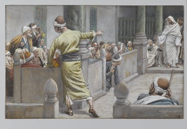 James Tissot (French, 1836-1902). <em>The Healed Blind Man Tells His Story to the Jews (L'aveugle-né guéri s'explique avec les Juifs)</em>, 1886-1896. Opaque watercolor over graphite on gray wove paper, Image: 7 1/2 x 11 11/16 in. (19.1 x 29.7 cm). Brooklyn Museum, Purchased by public subscription, 00.159.174 (Photo: Brooklyn Museum, 00.159.174_PS2.jpg)