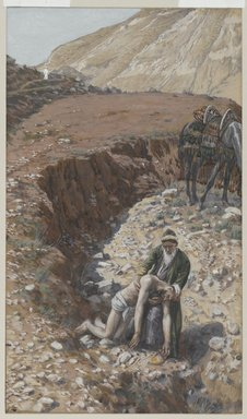 James Tissot (French, 1836-1902). <em>The Good Samaritan (Le bon samaritain)</em>, 1886-1894. Opaque watercolor over graphite on gray wove paper, Image: 10 x 5 3/16 in. (25.4 x 13.2 cm). Brooklyn Museum, Purchased by public subscription, 00.159.175 (Photo: Brooklyn Museum, 00.159.175_PS2.jpg)
