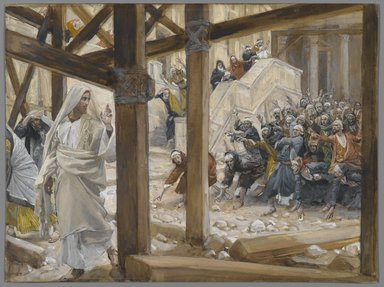 James Tissot (French, 1836-1902). <em>The Jews Took Up Rocks to Stone Jesus (Les juifs prirent des pierres pour lapider Jésus)</em>, 1886-1896. Opaque watercolor over graphite on gray wove paper, Image: 6 1/8 x 8 1/4 in. (15.6 x 21 cm). Brooklyn Museum, Purchased by public subscription, 00.159.176 (Photo: Brooklyn Museum, 00.159.176_PS2.jpg)