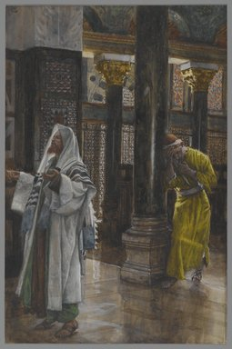 James Tissot (French, 1836-1902). <em>The Pharisee and the Publican (Le pharisien et le publicain)</em>, 1886-1894. Opaque watercolor over graphite on gray wove paper, Image: 9 7/8 x 6 1/2 in. (25.1 x 16.5 cm). Brooklyn Museum, Purchased by public subscription, 00.159.178 (Photo: Brooklyn Museum, 00.159.178_PS2.jpg)