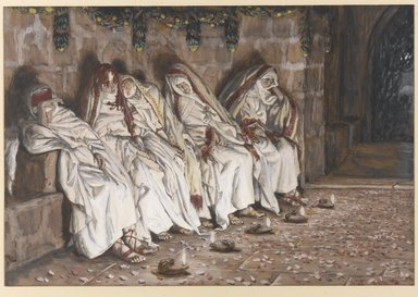 James Tissot (French, 1836-1902). <em>The Wise Virgins (Les vierges sages)</em>, 1886-1894. Opaque watercolor over graphite on gray wove paper, Image: 6 1/8 x 9 5/8 in. (15.6 x 24.4 cm). Brooklyn Museum, Purchased by public subscription, 00.159.179 (Photo: Brooklyn Museum, 00.159.179_PS1.jpg)