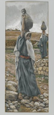 James Tissot (French, 1836-1902). <em>The Holy Virgin in Her Youth (La sainte vierge jeune)</em>, 1886-1894. Opaque watercolor over graphite on gray wove paper, Image: 8 5/8 x 3 3/8 in. (21.9 x 8.6 cm). Brooklyn Museum, Purchased by public subscription, 00.159.17 (Photo: Brooklyn Museum, 00.159.17_PS2.jpg)