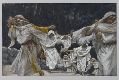 James Tissot (French, 1836-1902). <em>The Foolish Virgins (Les vierges folles)</em>, 1886-1894. Opaque watercolor over graphite on gray wove paper, Image: 7 1/8 x 10 3/8 in. (18.1 x 26.4 cm). Brooklyn Museum, Purchased by public subscription, 00.159.180 (Photo: Brooklyn Museum, 00.159.180_PS2.jpg)