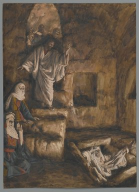 James Tissot (French, 1836-1902). <em>The Resurrection of Lazarus (La résurrection de Lazare)</em>, 1886-1894. Opaque watercolor over graphite on gray wove paper, Image: 10 1/16 x 7 1/4 in. (25.6 x 18.4 cm). Brooklyn Museum, Purchased by public subscription, 00.159.181 (Photo: Brooklyn Museum, 00.159.181_PS2.jpg)