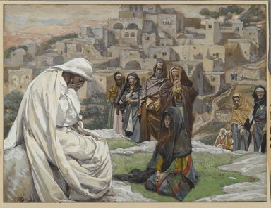 James Tissot (French, 1836-1902). <em>Jesus Wept (Jésus pleura)</em>, 1886-1896. Opaque watercolor over graphite on gray wove paper, Image: 6 3/4 x 8 15/16 in. (17.1 x 22.7 cm). Brooklyn Museum, Purchased by public subscription, 00.159.182 (Photo: Brooklyn Museum, 00.159.182_PS2.jpg)
